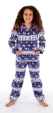 Platinum Girls Fairisle Design Hooded Fleece Onesie - Navy