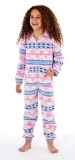 Platinum Girls Fairisle Design Hooded Fleece Onesie - Pink