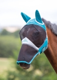 Shires Fine Mesh Fly Mask With Ears & Nose Extension - Teal