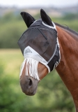 Shires Fine Mesh Fly Mask With Ears & Nose Fringe - Black