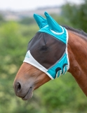 Shires Fine Mesh Fly Mask With Ears - Teal