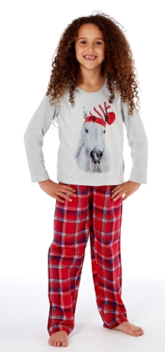 platinum-girls-luxury-festive-horse-pyjamas-grey-red-check-7-8-years