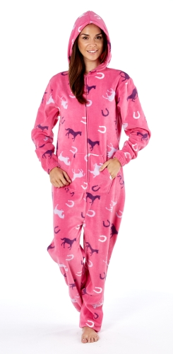 platinum-ladies-happy-horse-print-hooded-fleece-onesie-cerise-1416