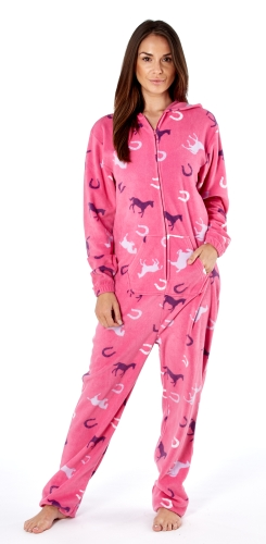 platinum-ladies-happy-horse-print-hooded-fleece-onesie-cerise