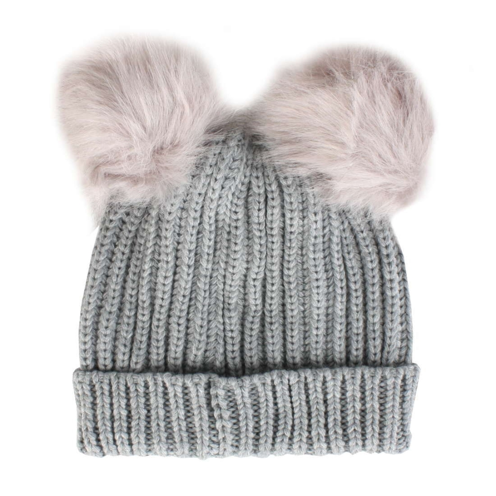 2cf64f489a13ec Proclimate Ladies Chunky Ribbed Beanie Hat With Twin Faux Fur Pom Poms -  Grey