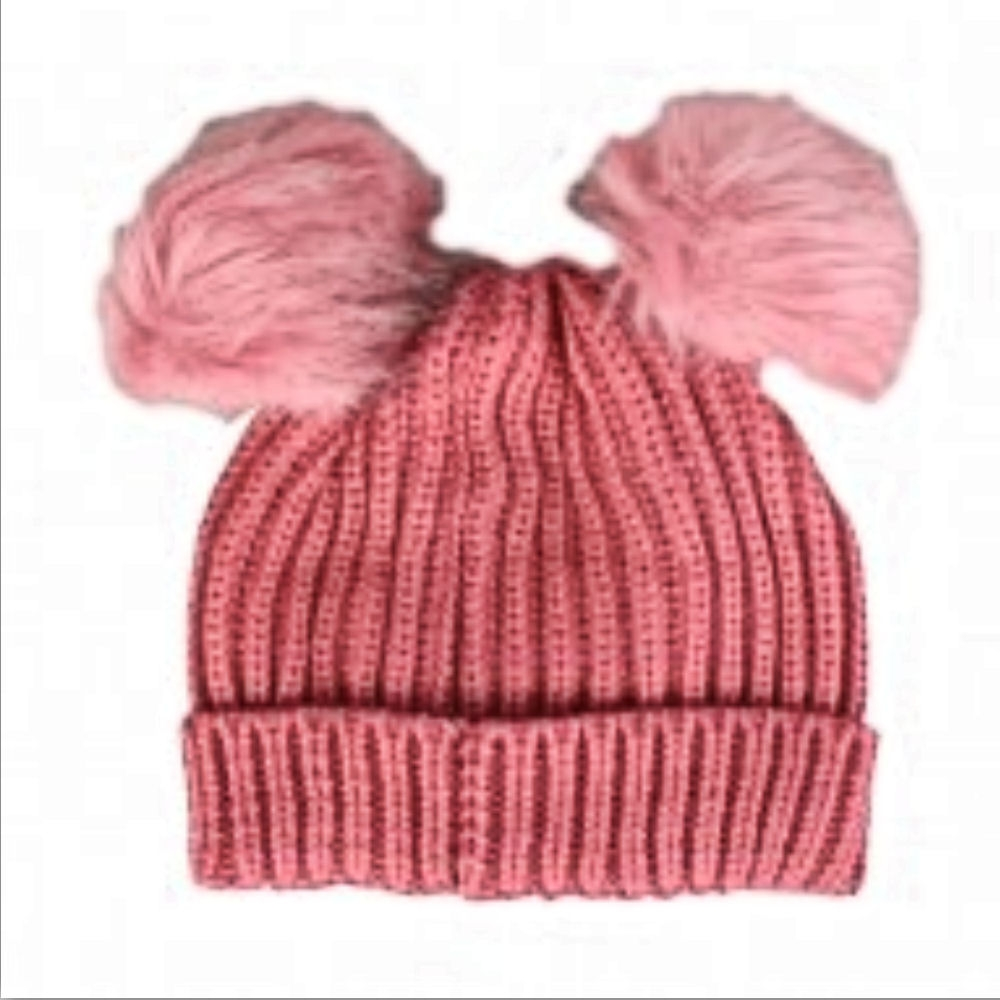 accaa4d5721a7e Proclimate Ladies Chunky Ribbed Beanie Hat With Twin Faux Fur Pom Poms -  Pink