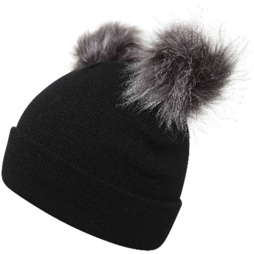 proclimate-ladies-fine-ribbed-beanie-hat-with-twin-faux-fur-pom-poms-black