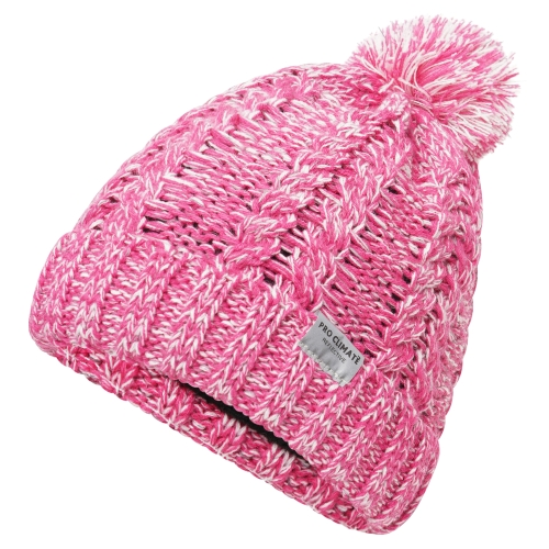 proclimate-ladies-reflective-cable-twist-knitted-beanie-hat-pink