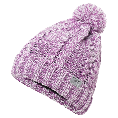 proclimate-ladies-reflective-cable-twist-knitted-beanie-hat-purple