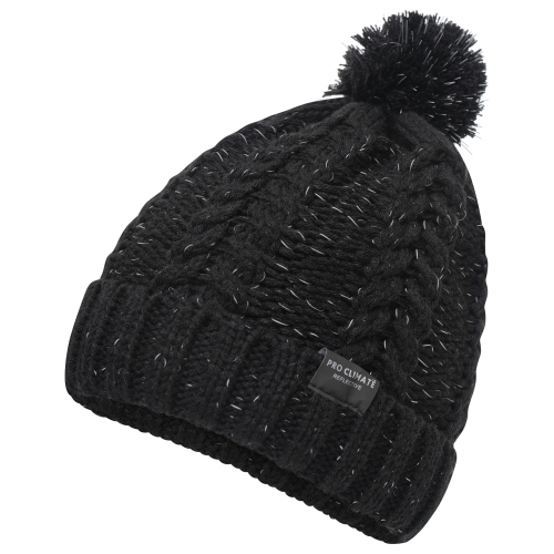 proclimate-unisex-reflective-cable-twist-knitted-beanie-hat-black