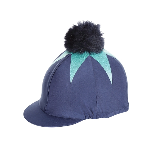 shires-pom-pom-riding-hat-cover-with-big-star-navyaqua