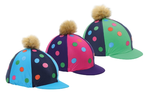 shires-pom-pom-riding-hat-cover-with-spots-pinkpurple