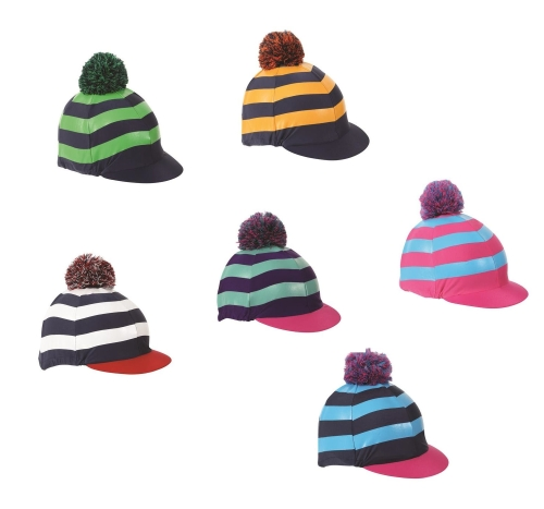 shires-pom-pom-riding-hat-cover-with-stripes-navyturquoisepink