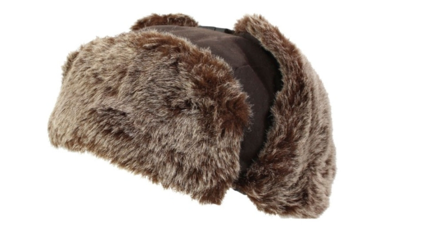 waxed-trapper-hat-with-faux-fur-trim-brown