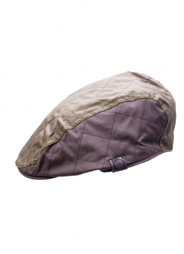 wesley-quilted-wax-flat-cap-with-contrasting-colours-olivebrown-60cm